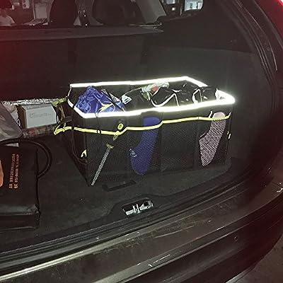 Amoybay Car Trunk Storage Organizer with Reflective Edging: Automotive