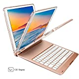iPad Pro 10.5 Keyboard with Adjustable 7 Colors Rainbow Backlits LED,Kiwetaso Lightweight Aluminum+ABS Wireless Bluetooth Auto Sleep/Wake Smart Keyboard Case for Apple iPad Pro 10.5 inch(Rose Gold)