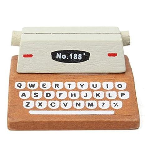 Tutoy 1Pcs Mini Retro Máquina De Escribir Estatuillas De Madera Mensaje Nota Clip Fotos Titular De