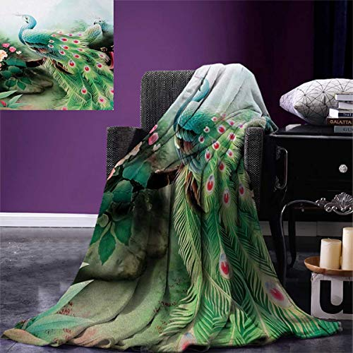 Cool Peacock Design Throw Blanket