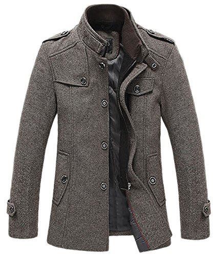 chouyatou Men's Winter Stylish Wool Blend Single Breasted Military Peacoat (X-Small, Khaki) ()