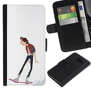 iKiki Tech / Cartera Funda Carcasa - Skateboarding Dude Boy Guy Art Drawing - Samsung Galaxy S6 SM-G920