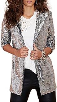 IRISIE Women Sparkle Sequins Open Front Long Sleeve Blazer Jacket