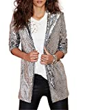 Richlulu Womens Sparkly Sequins Side Pocket Open Front Leisure Coat Jacket(XL,Silver)