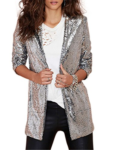 Haoduoyi Women's Sparkly Sequins Pocket Side Open Front Casual Coat Jacket(XXL,Silver) (Womens Jacket Holiday)