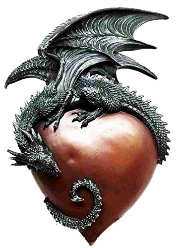 Legendary Gothic Spiral Brave Dragon Heart Wall Plaque Sculpture Figurine