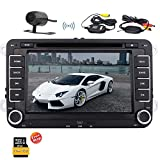 Eincar 7 Inch Double Din Car Radio Stereo for Jetta Golf Passat EOS Support GPS Navigation Audio Video CD Player Bluetooth USB SD CAM-IN Canbus SWC FM AM RDS Radio With Wireless Rear Camera