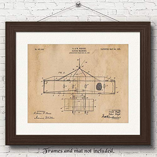Original Wright Brothers Flying Machine Patent Art Poster Prints - 11x14 Unframed Vintage Picture - Great Wall Art Decor Gifts for Pilots, Aviation Hangar, Man Cave, Garage, Boy's Room, School,