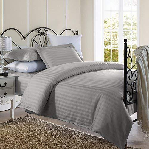 Duvet Cover 3 Piece Set Oversized Super King (120'' x 98'') 600 Thread Count 100% Natural Cotton Duvet Cover with Two Pillow Shams & Corner Ties Lightweight Comforter Cover Set (Silver Grey)