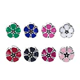 Beadthoven 50pcs Alloy Enamel Flower European Beads with Large Hole Style Dangle Charms Beads for Making Jewelry Bracelet Earrings Necklaces Crafts DIY