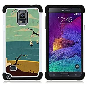 For Samsung Galaxy Note 4 SM-N910 N910 - sea ship ocean clouds sand beach Dual Layer caso de Shell HUELGA Impacto pata de cabra con im??genes gr??ficas Steam - Funny Shop -