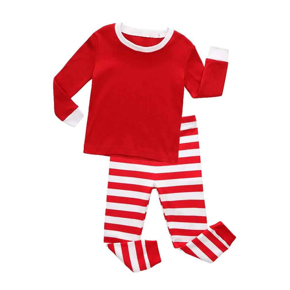 Hibote Pijamas Rayas para Niños Pijamas Navidad para Niñas Vetement Enfant Fille Pijamas Pijamas Navidad para Niños Niñas Homewear B181011KP1-X