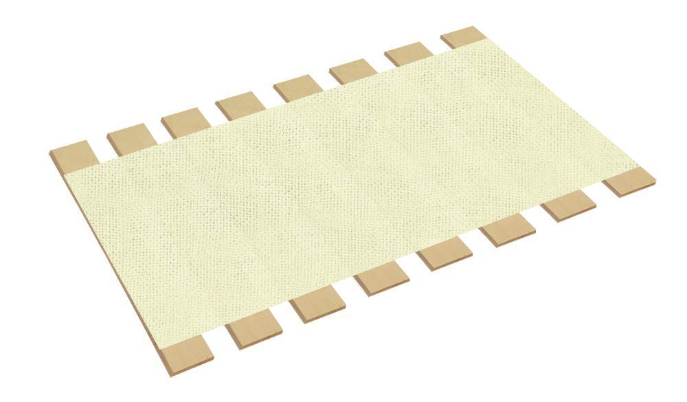 The Furniture Cove Twin Size Bed Slats Boards Wood Foundation White Burlap Fabric-Help Support Your Box Spring Mattress-Made in the U.S.A.! (39'' Wide)