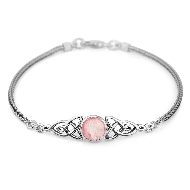 "925 Sterling Silver Genuine Gemstone Celtic Trinity Knot Triquetra Triskelion Trikele Bracelet 8"""