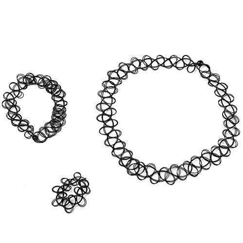 ReNext Vintage Boho Tattoo Choker Elastic Stretch Necklace Ring Bracelet Set Retro Henna