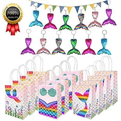 Mermaid Party Supplies, 24 Pack Reversible Sequins Mermaid Tail Keychains Glitter Mermaid Themed Party Bags Gift Bags for Kids Girls Wedding Birthday Party Favor: Toys & Games