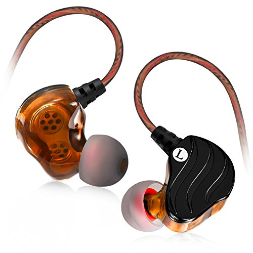 Earbuds with Microphone, Bambud Wired In Ear Headphones Earphones Stereo Dual Dynamic Drivers Ear buds with Mic andRemote, Over Ear Noise Isolating Sports Workout Headsets for iPhone Galaxy S9 S8 Plus Inner Ear Clip Headphone