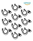 10Pcs Xfox M2PE0310 PTT Earpiece Motorola 2Pin D Shape Earpiece Headset with Push to Talk Mic for Motorola Two Way Radio Walkie Talkie Devices CP040 CP200 XTNi DTR VL50 and other required 2 Pin