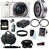 Sony Alpha a6000 ILCE6000LW ILCE6000L/W Interchangeable Lens Camera with 16-50mm Power Zoom Lens (White) + Sony 16mm F2.8 E Lens + Sony 32GB SD Memory Card + Replacement Battery for Sony NP-FW50 + Tiffen UV Filters + Deluxe Accessory Bundle