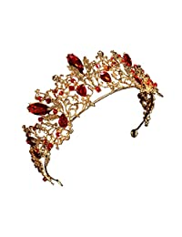 Gold Vintage Red Rhinestone Bridal Tiaras Wedding Hair Accessories Pageant Prom Crown for Bride Headbands
