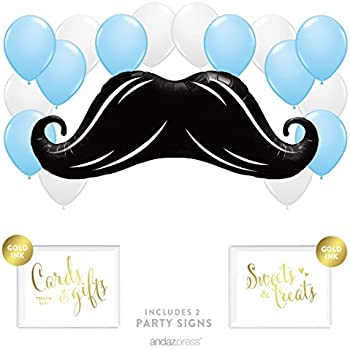 Andaz Press Balloon Party Kit With Signs, Boy Baby Shower, Mustache With  Baby Blue And White Balloons, Hanging Decor, Hanging Decorations, 19 Piece  Kit
