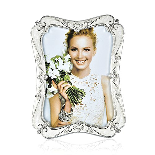 Wedding Photo Frame Silver Plated Picture Frame - EPOXY Zinc Alloy 5x7 Inch Metal Marriage Picture Frame - Inlay Rhinestones Photo Frames Blocks for Family Love Baby Metal Frame Rhinestones