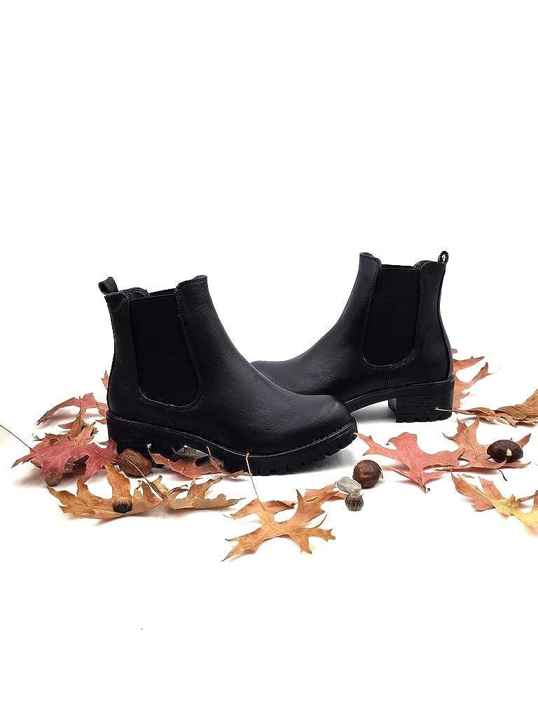 f9822cbb2f9 Angkorly - Chaussure Mode Bottine Chelsea Boots Plateforme Slip-on Femme  élastique Talon Haut Bloc 4.5 CM