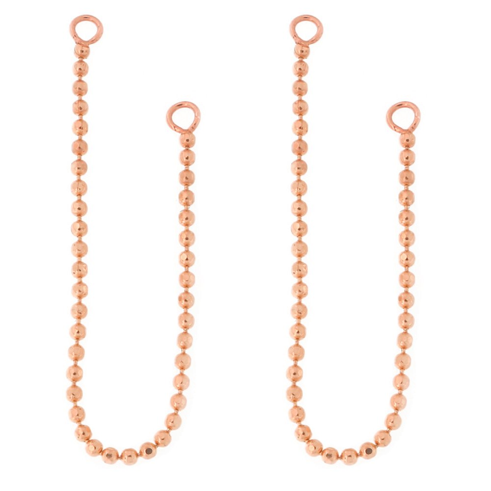 Automic Gold Solid 14k Rose Gold Bead Chain Earring Jacket Extender