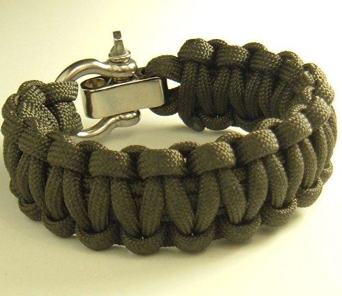 """Adjustable Shackle Paracord Survival Bracelet-7 Wrist Sizes-20 Colors (Olive Drab, 6.0"""" Wrist)"""