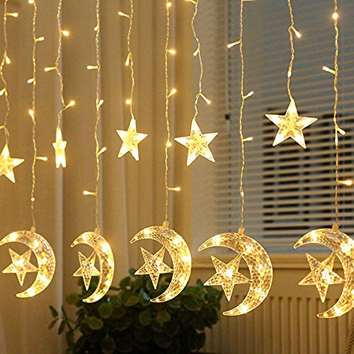 Ayunhao LED Star Moon Curtain String Lights,Window Curtain Lights with 8 Flashing Modes Decoration Christmas Wedding,Party,Home,Patio Lawn,Warm White