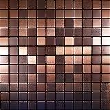 FLEXIPIXTILE, 10-Piece Aluminum Mosaic Tile, Peel & Stick, Backsplash, Accent Wall,OLD KETTLE