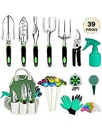 AOKIWO Juego de herramientas de jardín, 39 piezas Herramientas de jardinería para trabajo pesado con guantes de jardín y organizador Totalizador Kit de herramientas de mano de aluminio Regalos de jardinería para hombres y mujeres
