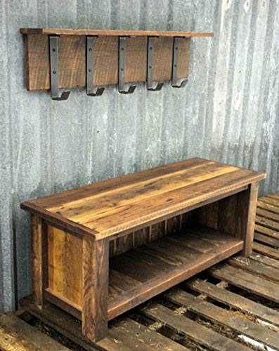 Stupendous Reclaimed Barnwood Bench Shelf Set Machost Co Dining Chair Design Ideas Machostcouk