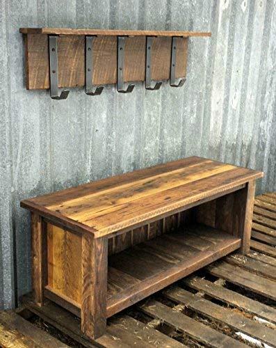 Reclaimed Barnwood Bench Shelf Set