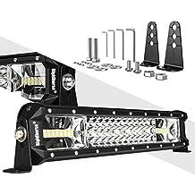 LED Light Bar Rigidhorse Triple Row 16 Inch 162W LED Work Light Spot Flood Combo LED Light Bar/Driving Lights With Adjustable Mounting Bracket, For Trucks/Off Road Lights/SUV Lighting