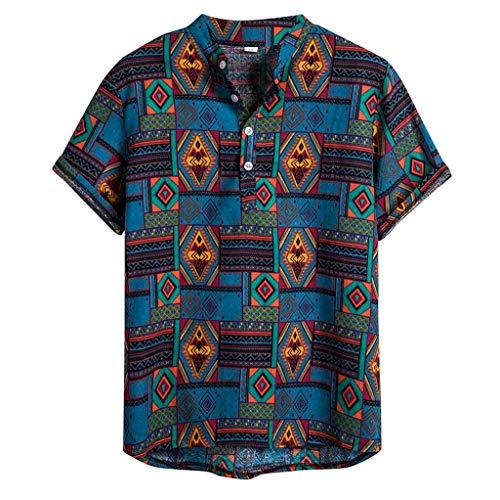kaifongfu Mens Ethnic Short Sleeve Casual Cotton Linen Printing Hawaiian Shirt Blouse Summer Beach Clothing(Blue,XXL)
