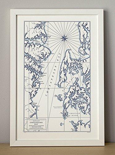Chesapeake Bay, Letterpress Map Unframed Print ()