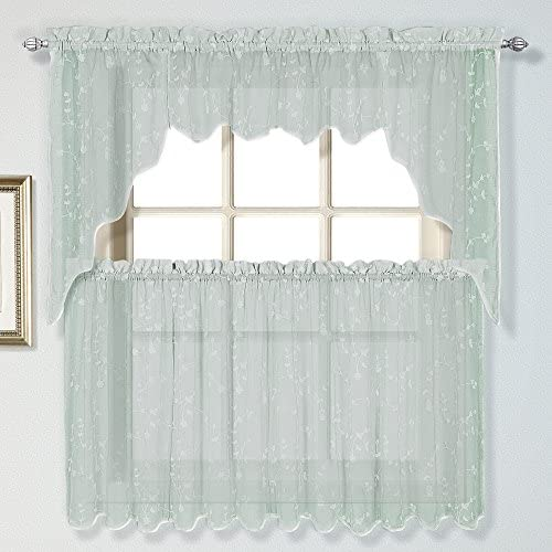 United Curtain Savannah Dry Hand Linen Look Embroidered Window Kitchen Tier, 51 x 36 , Sea Blue