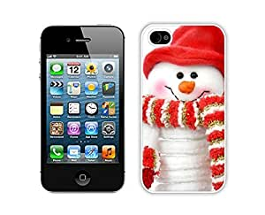 Special Custom Made Christmas snowman White iPhone 4 4S Case 6