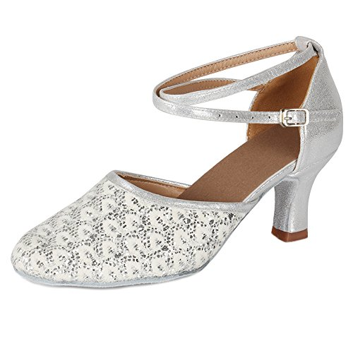 Shoes Ballroom Silver Latin Women MF1802 Model Glett Modern Dance 6 HROYL 7cm Shoes Samba Chacha Leather Dance YAT4q