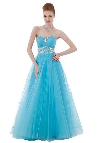 Elegante cielo Azul a-line suelo Longitud Vestido de novia de tul ty009: Amazon.es: Ropa y accesorios