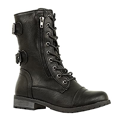 West Blvd Guilty Shoes - Womens Quilted Combat Military Riding Lace up Buckle - Platform Mid Calf Boots