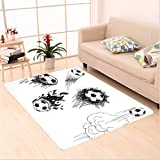 Nalahome Custom carpet arious Round Soccer Balls in Air Fast Kick Shoot in Flame Kickoff Space Artsy Sketch Black White area rugs for Living Dining Room Bedroom Hallway Office Carpet (5' X 8')