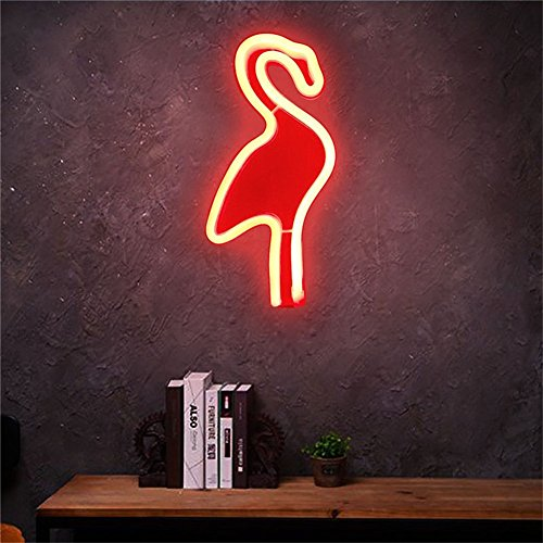 Zehui Creative Flamingo Wall Hanging Lamp Bar Party Club Decor Neon Sign Design Romantic Dim Mood Lamp Battery Operated (Flamingo Wall Hanging)