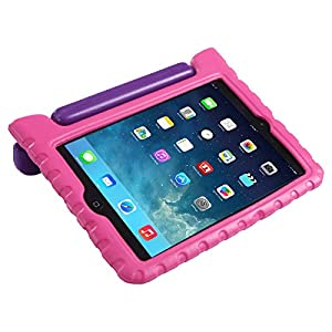 HDE iPad Mini 2 3 Case for Kids - Shock Proof Rugged Heavy Duty Impact Resistant Protective Cover Handle Stand for Apple iPad Mini 1 2 3 Retina (Purple Pink)
