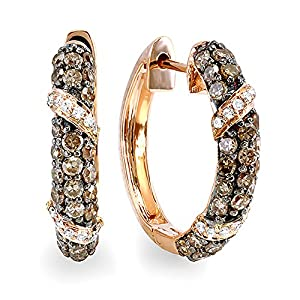 0.85 Carat (ctw) Rose Gold Round White & Champagne Diamond Ladies Hoop Earrings