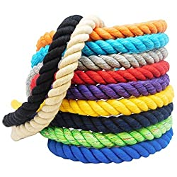 FMS Colored Twisted Cotton Rope - Natural Triple-Strand Rope (Natural White)(1 Inch x 25 Feet)