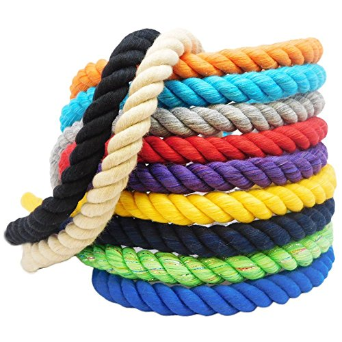 FMS Super Soft Triple-Strand 1/4 Inch, 1/2 Inch, 5/8 Inch, 3/4 Inch and 1 Inch Twisted Cotton Rope by the Foot, 10 Feet, 25 Feet, 50 Feet, 100 Feet (N…
