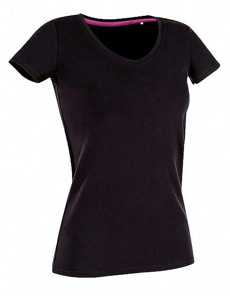 elegante Form Genieße den reduzierten Preis beispiellos Single Jersey Damen T-Shirt mit Elasthan V Ausschnitt ...