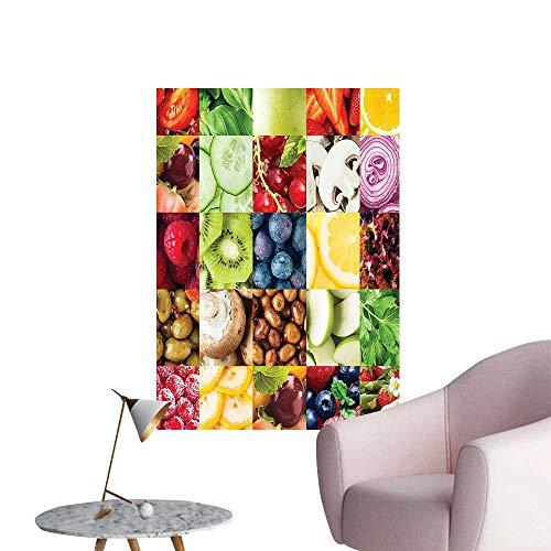 Wall Decoration Wall Stickers Vegetabl Collage Berri Apple Mush Cucumber Lettuce Multicolor Print Artwork,28